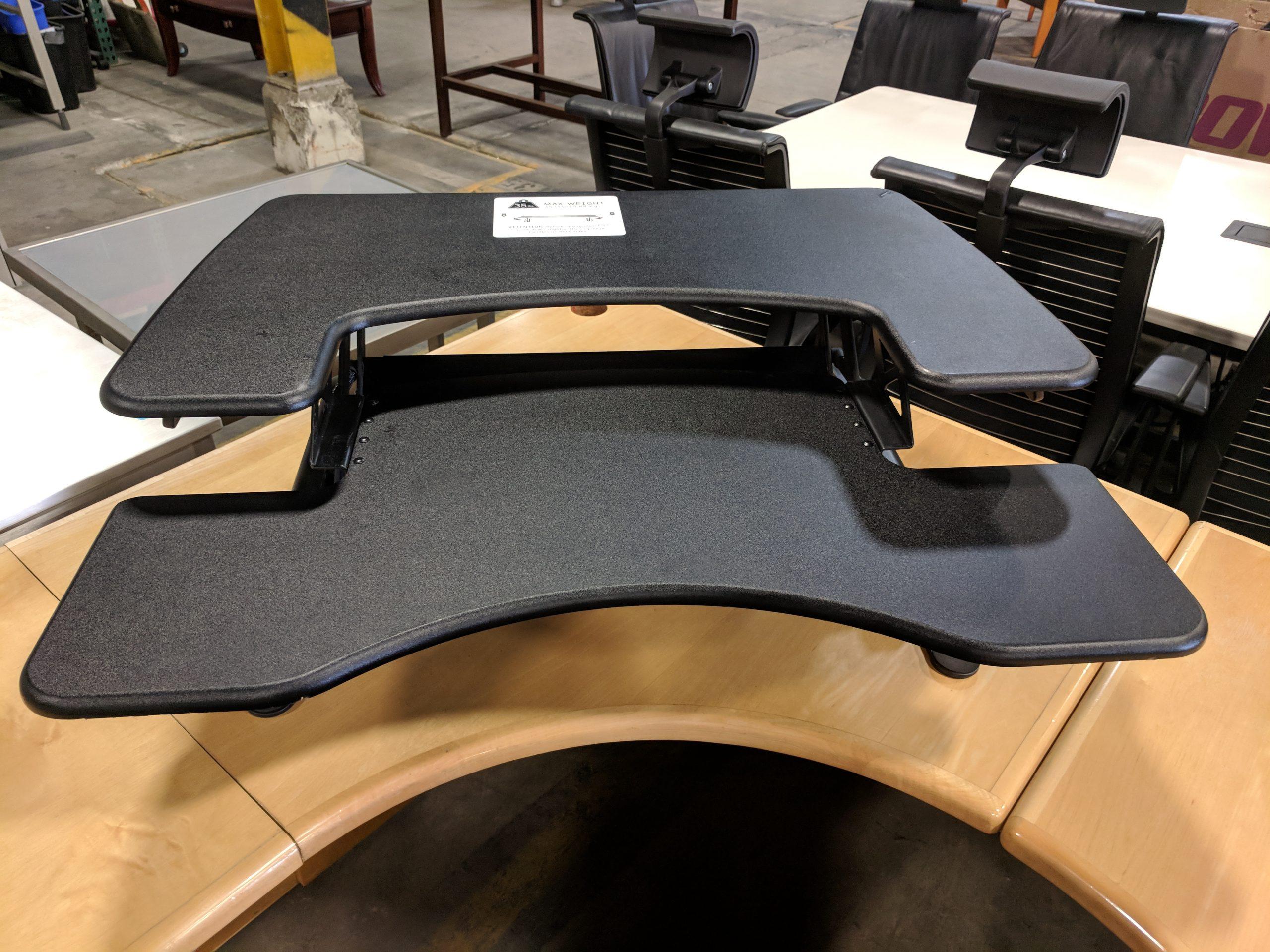 VARIDESK PRO PLUS 36 SIT-STAND DESKTOP WORKSTATION, BLACK TWO -TIER DESIGN: UPPER DISPLAY SURFAC...