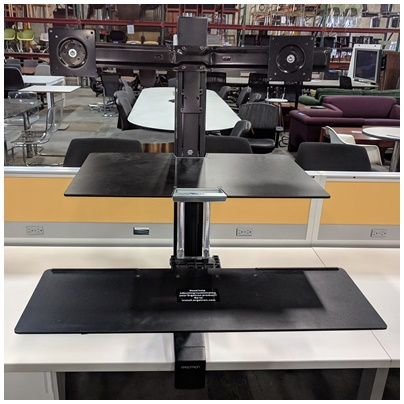ERGOTRON WORKFIT-S DUAL MONITOR WITH WORKSURFACE, BLACK FINISH