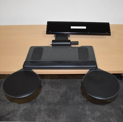 HUMANSCALE ARTICULATING KEYBOARD/MOUSE TRAY, ADJUSTABLE TRAY ANGLE, LEFT OR RIGHT MOUSE PAD