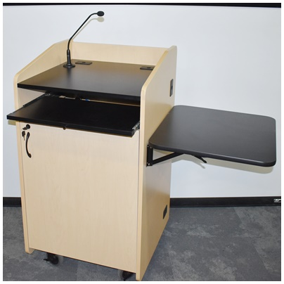 MOBILE MAPLE PODIUM WITH MICROPHONE, FLIP-UP SIDE TABLE, RECTRACTABLE TRAY, LOCKING STORAGE, 25W...
