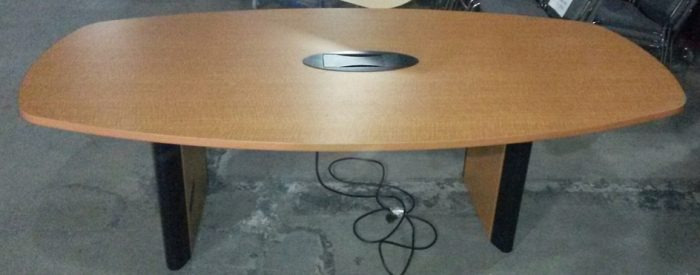 "Conference Table, 95""W x 48""D, Laminate, Light Cherry, Slight damage around data box (Rquires 2-..."
