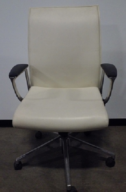 High back conference chair, chrome base, white vinyl cover