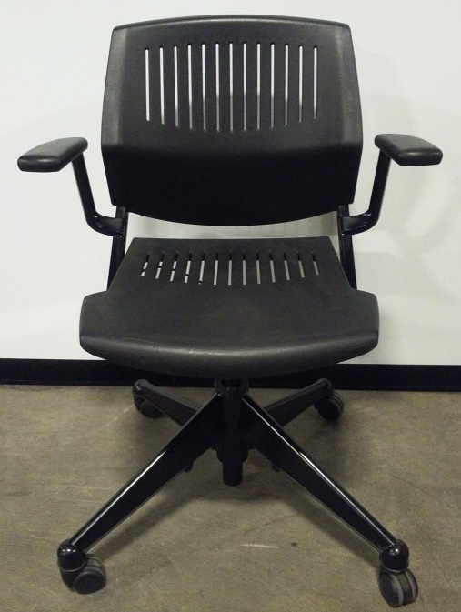 Vecta, Kart, nesting training room chair with wheels, blk base, blk plastic seat/back