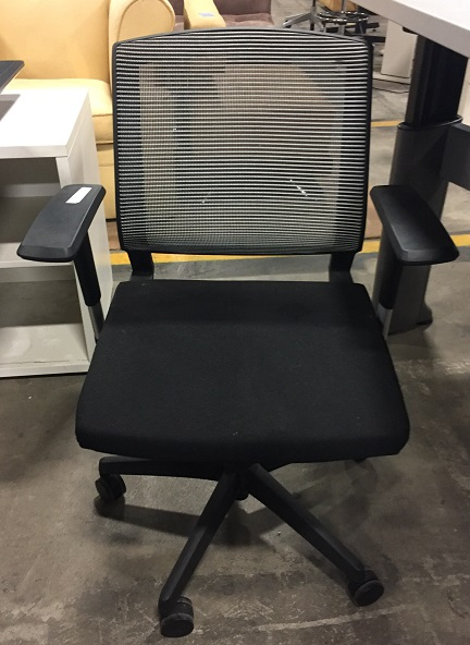 White & Black Mesh Back Conf Chair, Black Base, Adjustable Height