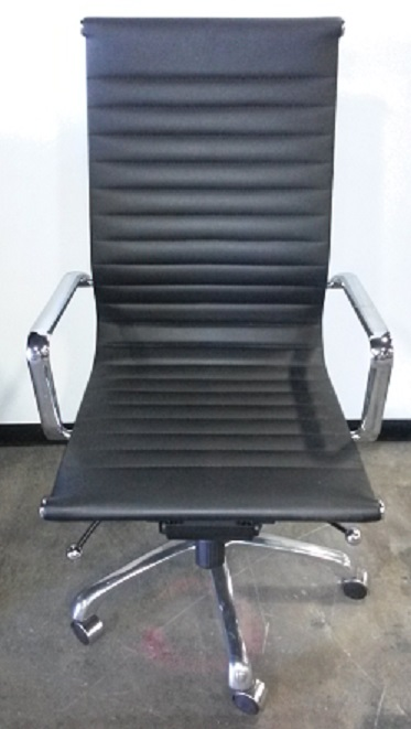 Conference Chair, Black Eames Style, Chrome Handles, Black Leather, Chrome Frame
