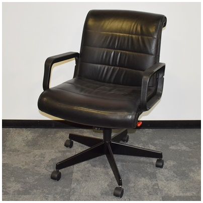 KNOLL SAPPER BLACK LEATHER CONFERENCE CHAIR