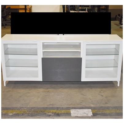 IKE UNK Ikea, Credenza w/(2) glass doors & (1) drawer, White, 71Wx29Hx17H