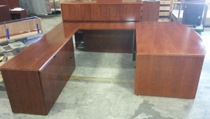 OFS BOW FRONT LEFT HAND U-DESK W/ OVERHEAD