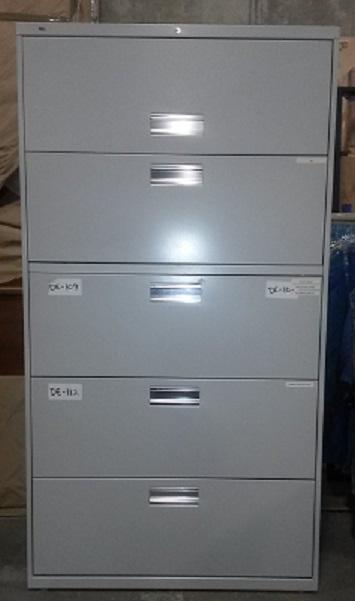 HON METAL 5-DRAWER LATERAL FILE 36Wx19Dx67H GREY