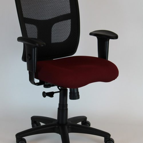 TASK CHAIR, MID-BACK, MESH BACK/FOAM SEAT, BLACK/BURGUNDY (NEW)