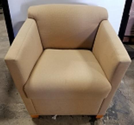 "BRA ART Brayton Lounge Chair, Gold Patterned Fabric, Oak Wood Bottom Legs, 26""W X 28""D X 28""H"