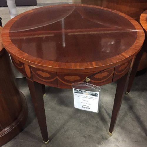BAKER ROUND SIDE TABLE W/PENCIL DRAWER