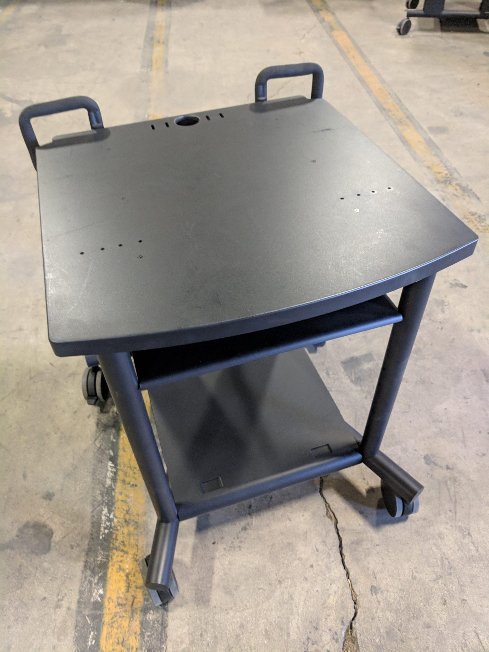 COMPUTER CART, BLACK METAL FRAME W/(2) SHELVES, 31Wx28Dx31H