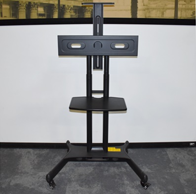 """MOUNT FACTORY MOBILE TV/MONITOR STAND, FITS 40""""-65"""" FLAT SCREEN, BLACK"""