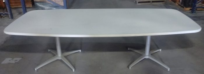 """STEELCASE BOAT SHAPED CONFERENCE TABLE, 8'Wx42""""D, WHITE LAMINATE/GREY"""