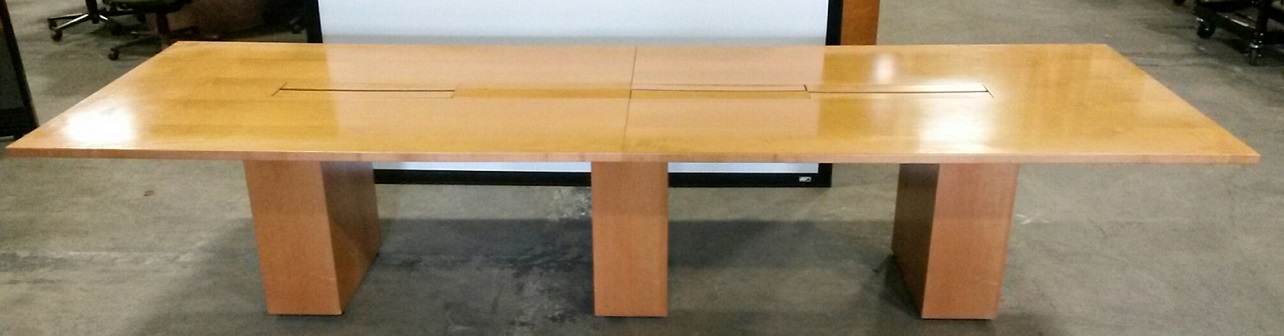 UNK CEB 2-Piece Rectangular Conference Table, w/Electrical Box, 12'Wx4'D, Maple Top/Base