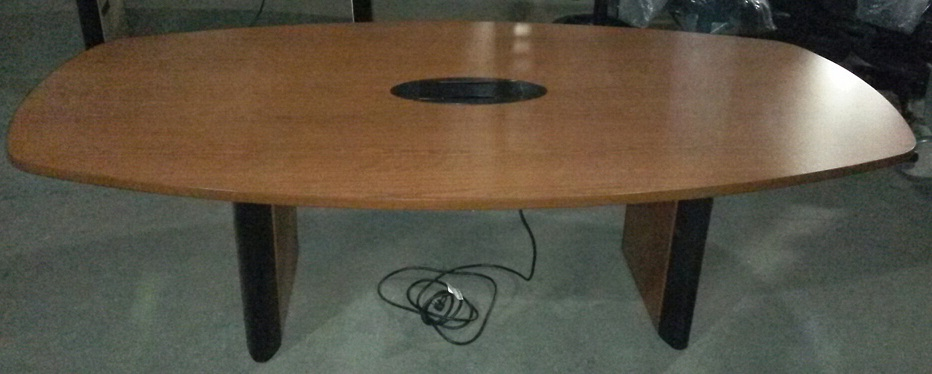 "Conference Table, 95""W x 48""D, Laminate, Dark Cherry, Slight damage around data box (Rquires 2-C..."