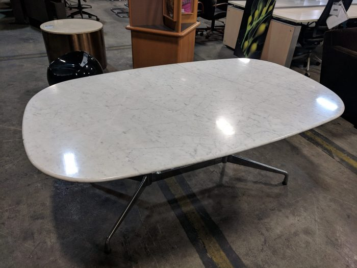 HERMAN MILLER EAMES CONFERENCE TABLE, WHITE MARBLE TOP, CHROME BASE, 72Wx42Dx28H