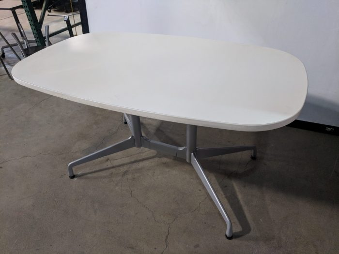 HERMAN MILLER EAMES BOAT CONFERENCE TABLE, OFF-WHITE TOP AND EDGEBAND, SILVER BASE, 60Wx30Dx29H