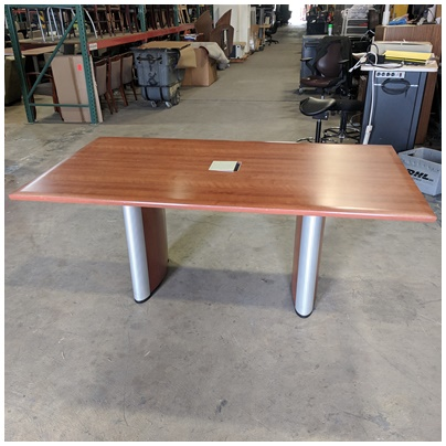 KIENKAMPER RECTANGULAR CONFERENCE TABLE, CHERRY VENEER FINISH, (1) PIECE SURFACE W/(2) BASES AND...