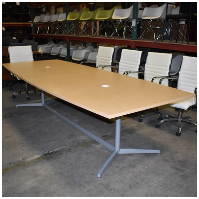MAPLE BOAT-SHAPE CONFERENCE TABLE, MAPLE LAMINATE WITH GRAY METAL BASE, 120Wx48/42Dx29H
