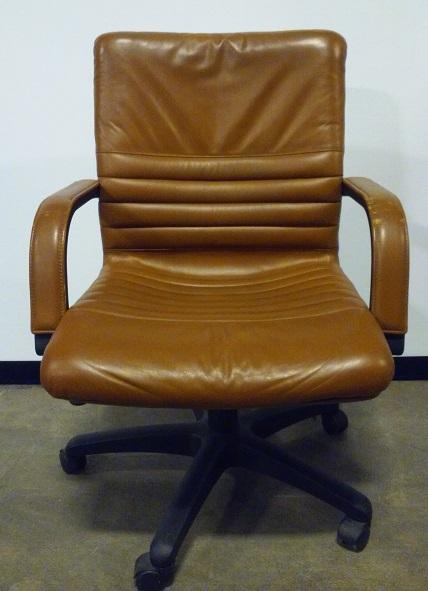 Nienkamper, Senator, exec conference chair, mid back, blk base, brown leather
