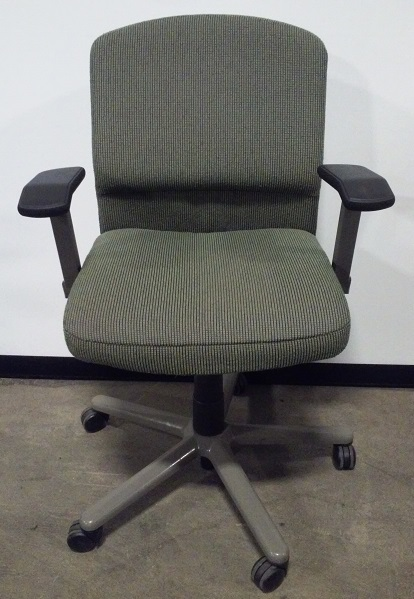Vecta, Task/conference chair, mid back, adjustable arms, grey base, blue green dot fabric, 4 O...