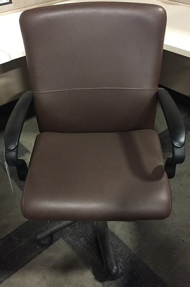 Brayton International Brown Leather Conference Chair w/Black Base & Casters