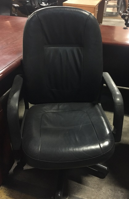 Black Leather Padded High Back Conf Chair w/Black Base