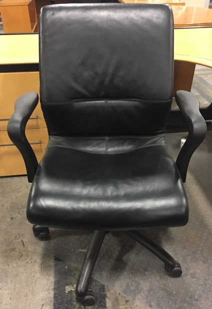 Black Padded Leather Conf Chair w/Casters, Adjustable Height