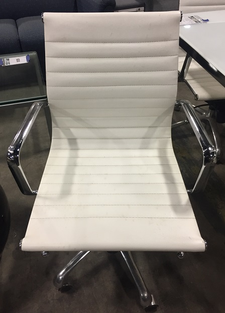 White Eames Style Conf Chair w/Chrome Handles and Base/Casters, Adjustable Height