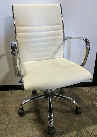 LumiSource Conference Chair, Chrome Base White Leather