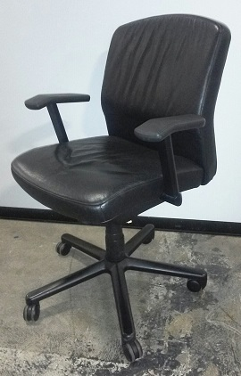 Vecta Conference Chair, Black Leather Back/Seat, Black Frame