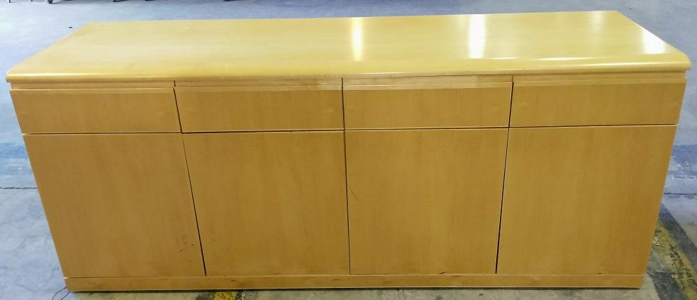 Creative Wood Credenza (4) Doors Below, (4) Drawers Above, 72Wx22Dx29H, Maple