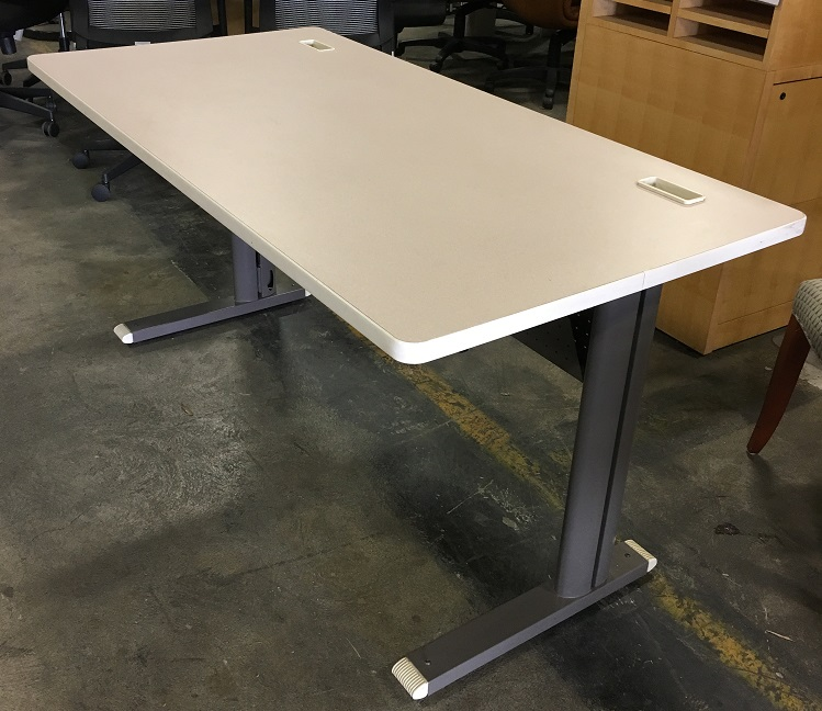 "Bretford Straight Desk, Manual Adjustable Legs, Cream Top, Taupe Base 60""W x 30""D"