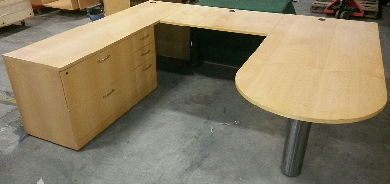 Creative Woods LH U-Desk veneer, bullet top desk w/chrome post leg and modesty panel 84Wx36D, br...