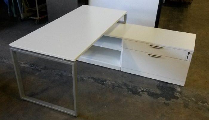 "L-Desk, R-Hand Return w/2 Drawer Lateral File and Shelves, Desk 66""W x 30""D x 29.5""H, Return 71""..."