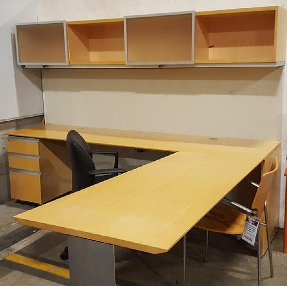 "Knoll L-Desk 54W x 30D x 30H, LH Return 24D x 96W x 30H, Includeds Box Box File Pedestal, 96"" Ov..."