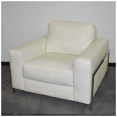ENCORE HOME DESIGNS WHITE LEATHER LOUNGE CHAIR