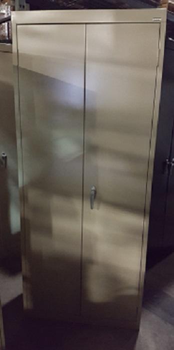 SAN PAR Storage Cabinet, 15Dx30Wx72H, 2 Open Front Doors w/ 3 Shelves Inside, Metal, Cream