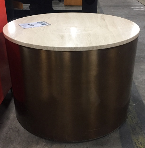 MARBLE TOP DRUM TABLE