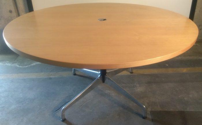 HERMAN MILLER VENEER ROUND TABLE W/GROMMET HOLE