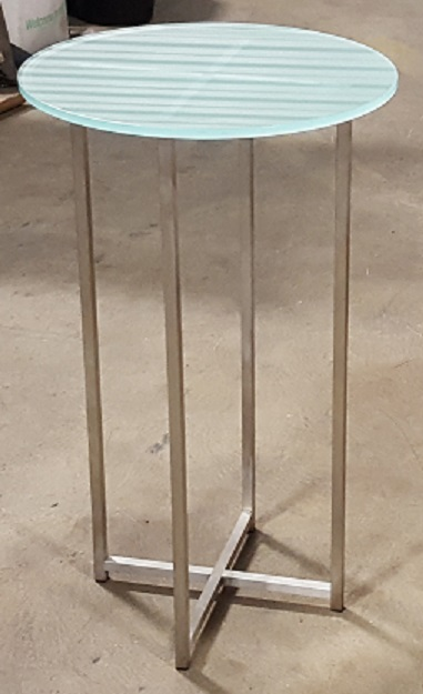FROSTED GLASS ROUND END TABLE