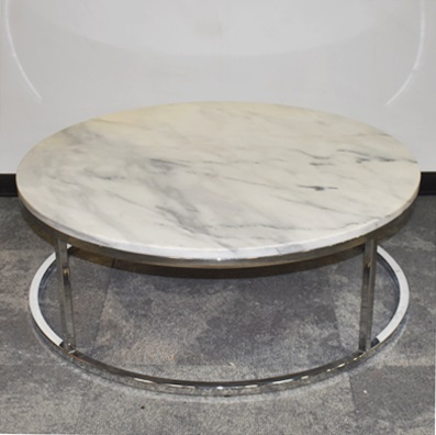CB2 ROUND MARBLE TOP COFFEE TABLE