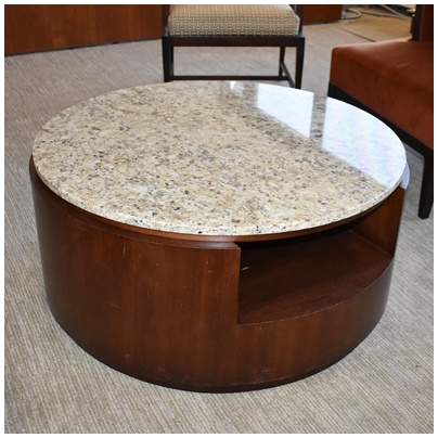 ROUND POLISHED GRANITE TOP COFFEE TABLE